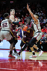 NORMAL, IL - February 02: Aher Uguak heads for the paint defended by Phil Fayne during a college basketball game between the ISU Redbirds and the University of Loyola Chicago Ramblers on February 02 2019 at Redbird Arena in Normal, IL. (Photo by Alan Look)