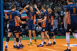 12-05-2019 NED: Abiant Lycurgus - Achterhoek Orion, Groningen<br /> Final Round 5 of 5 Eredivisie volleyball, Orion wins Dutch title after thriller against Lycurgus 3-2 / Joris Marcelis #4 of Orion, Shalev Saada #5 of Orion, Wessel Anker #2 of Orion