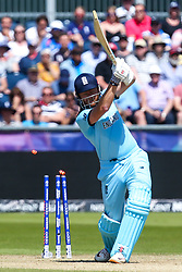 Jonny Bairstow of England is bowled by Matt Henry of New Zealand - Mandatory by-line: Robbie Stephenson/JMP - 03/07/2019 - CRICKET - Emirates Riverside - Chester-le-Street, England - England v New Zealand - ICC Cricket World Cup 2019 - Group Stage