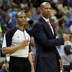 April 1, 2011; New Orleans, LA, USA; New Orleans Hornets head coach Monty Williams argues an officials call during the second quarter against the Memphis Grizzlies at the New Orleans Arena.    Mandatory Credit: Derick E. Hingle