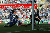 Photo: Lee Earle.<br /> Reading v Middlesbrough. The Barclays Premiership. 19/08/2006. Reading's Leroy Lita (L) scores their third.