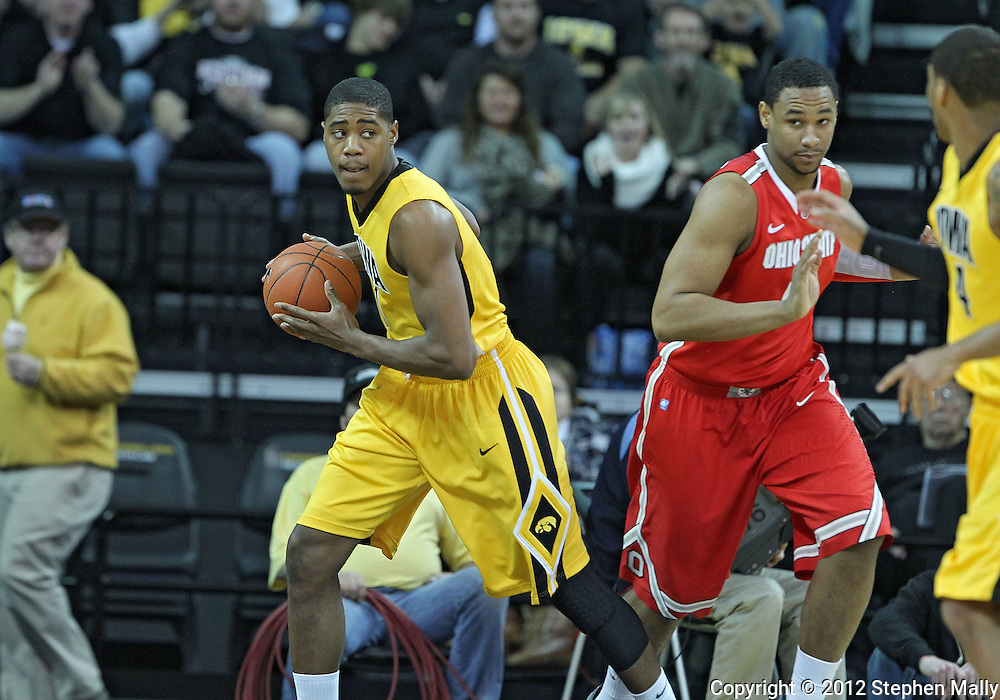 January 07, 2011: Iowa Hawkeyes forward Melsahn Basabe (1) with the ball during the the NCAA basketball game between the Ohio State Buckeyes and the Iowa Hawkeyes at Carver-Hawkeye Arena in Iowa City, Iowa on Saturday, January 7, 2012.