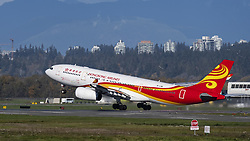 November 2, 2018 - Richmond, British Columbia, Canada - A Hong Kong Airlines Airbus A330-200 (B-LNK) wide-body jet airliner  takes off from Vancouver International Airport. The Hong Kong based airline is part of the HNA Group of companies. (Credit Image: © Bayne Stanley/ZUMA Wire)