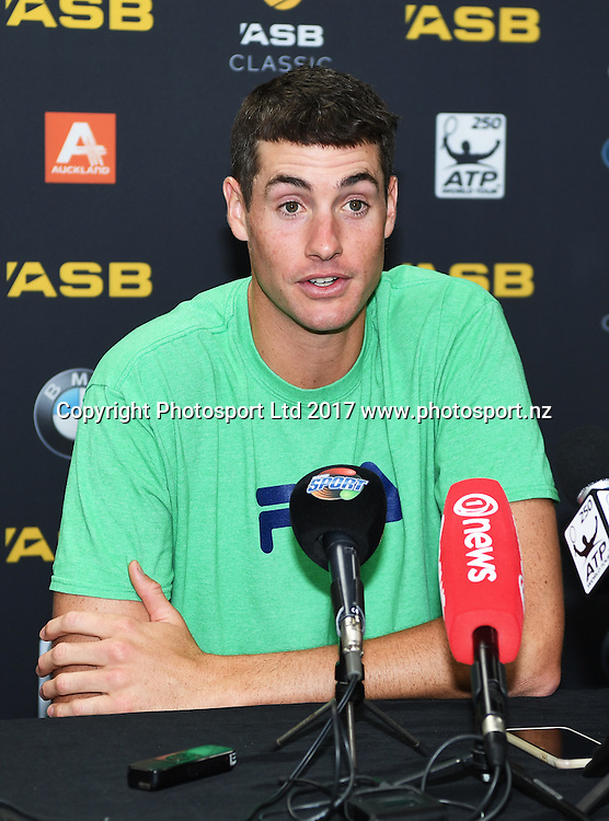 USA's john Isner during a press conference ahead of the ASB Classic. ATP Men's Tournament. ASB Tennis Centre, Auckland, New Zealand. Saturday 7 January 2017. © Copyright photo: Andrew Cornaga / www.photosport.nz