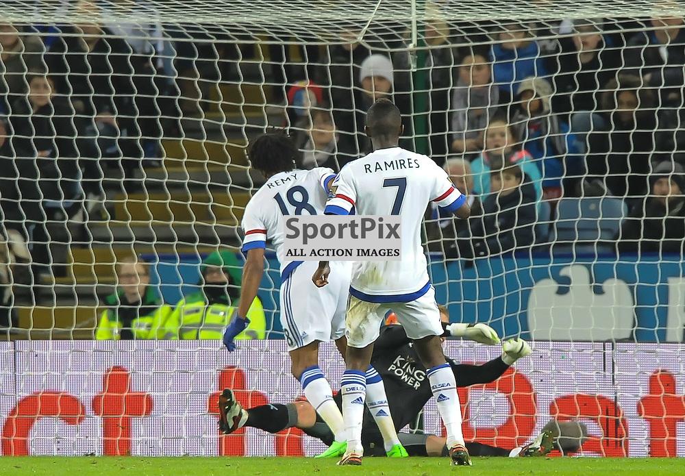 Loic Remy heads past Kasper Schmeichel to give Chelsea hope (c) Simon Kimber | SportPix.org.uk