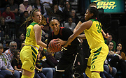 Stanford Cardinal guard DiJonai Carrington (21) steps through the double team of Oregon Ducks guard Sabrina Ionescu (20) left and Oregon Ducks forward Oti Gildon (32) in the first half of the championship game of the Pac-12 Conference women's basketball tournament Sunday, Mar. 10, 2019 in Las Vegas.  Stanford defeated Oregon 64-57. (Gerome Wright/Image of Sport)