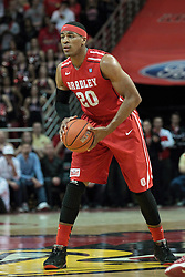 15 February 2014:  Tyshon Pickett during an NCAA Missouri Valley Conference (MVC) mens basketball game between the Bradley Braves and the Illinois State Redbirds  in Redbird Arena, Normal IL.
