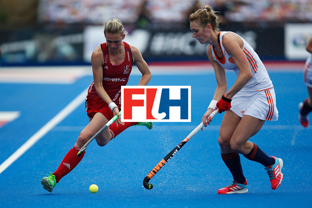 LONDON, ENGLAND - JUNE 19:  Alex Dixon of Great Britain carries the ball during the FIH Women's Hockey Champions Trophy 2016 match between the Netherlands and Great Britain at Queen Elizabeth Olympic Park on June 19, 2016 in London, England.  (Photo by Joel Ford/Getty Images)