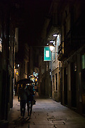 Nightlife in the streets of Santiago de Compostela in Galicia, Northern Spain