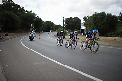Team USA riders lean into a corner during the second, 20.3 km team time trial stage of the Amgen Tour of California - a stage race in California, United States on May 20, 2016 in Folsom, CA.