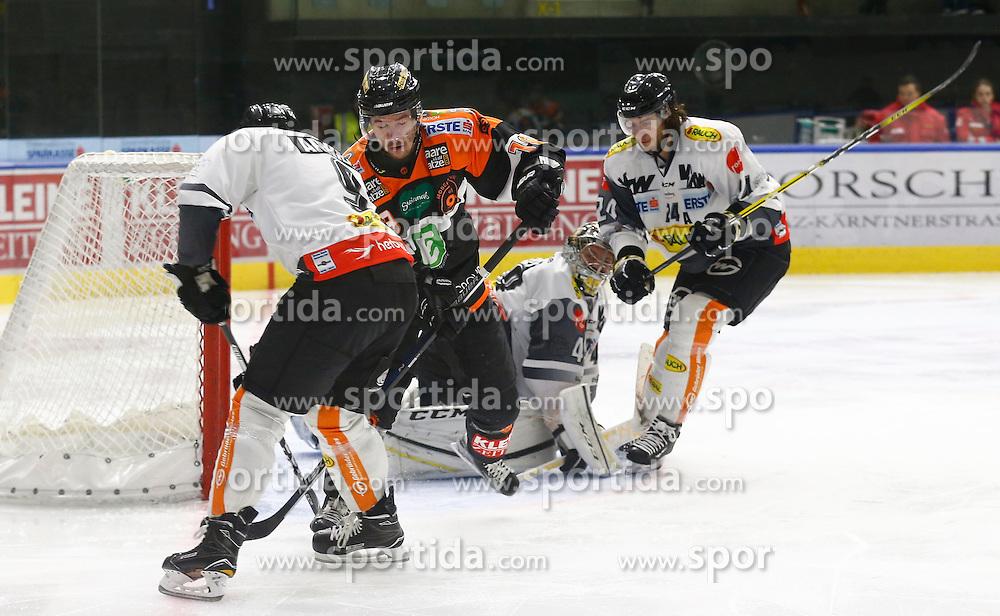 13.11.2016, Merkur Eisarena, Graz, AUT, EBEL, Moser Medical Graz 99ers vs Dornbirner Eishockey Club, 18. Runde, im Bild James Arniel (#9, Dornbirner Eishockey Club), Ken Ograjensek (#18, Moser Medical Graz 99ers), Florian Hardy (#49, Dornbirner Eishockey Club) und Michael Caruso (#24, Dornbirner Eishockey Club) // during the Erste Bank Icehockey League 18th Round match between Moser Medical Graz 99ers and Dornbirner Eishockey Club at the Merkur Ice Arena, Graz, Austria on 2016/11/13, EXPA Pictures © 2016, PhotoCredit: EXPA/ Erwin Scheriau