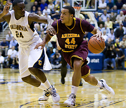 February 27, 2010; Berkeley, CA, USA;  Arizona State Sun Devils guard Jerren Shipp (44) is guarded by California Golden Bears forward Theo Robertson (24) during the second half at Haas Pavilion.  California defeated Arizona State 62-46.