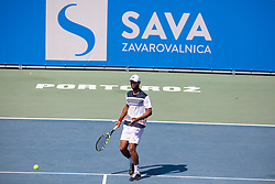Sadio Doumbia (FRA) play against Aslan Karatsev (RUS) at ATP Challenger Zavarovalnica Sava Slovenia Open 2018, on August 5, 2018 in Sports centre, Portoroz/Portorose, Slovenia. Photo by Urban Urbanc / Sportida