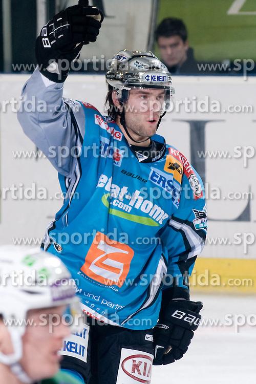 Justin Keller (EHC Liwest Black Wings Linz, #14) celebrate goal during ice-hockey match between HDD Tilia Olimpija and EHC Liwest Black Wings Linz in 18th Round of EBEL league, on November 5, 2010 at Hala Tivoli, Ljubljana, Slovenia. (Photo By Matic Klansek Velej / Sportida)