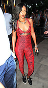 19.JULY.2013. LONDON<br /> <br /> RIHANNA LEAVING HER LONDON HOTEL BEFORE GOING TO THE ROBERTO CAVALLI STORE IN MAYFAIR, LONDON WEARING A RED ADDIDAS ALL IN ONE CAT SUIT.<br /> <br /> BYLINE: EDBIMAGEARCHIVE.CO.UK<br /> <br /> *THIS IMAGE IS STRICTLY FOR UK NEWSPAPERS AND MAGAZINES ONLY*<br /> *FOR WORLD WIDE SALES AND WEB USE PLEASE CONTACT EDBIMAGEARCHIVE - 0208 954 5968*