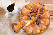 Pear tart tatin pictured at P&amp;O Cruises Development Kitchen for the Macmillan Cancer Support cookery book.<br /> Picture date: Friday April 29, 2016.<br /> Photograph by Christopher Ison &copy;<br /> 07544044177<br /> chris@christopherison.com<br /> www.christopherison.com