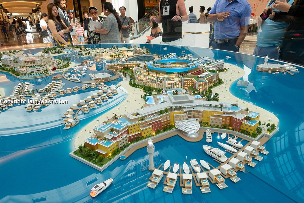 Model of proposed new property development called The Heart of Europe to be built offshore at The World in Dubai, UAE. Development is aimed at investors and has several themed tourist housing and retail areas.