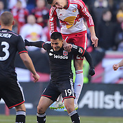 Matt Miazga, New York Red Bulls, wins a header over Jairo Arrieta, D.C. United during the New York Red Bulls Vs D.C. United Major League Soccer regular season match at Red Bull Arena, Harrison, New Jersey. USA. 22nd March 2015. Photo Tim Clayton