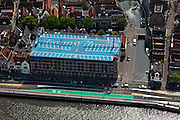 Nederland, Noord-Holland, Alkmaar, 28-04-2010; parkeergarage aan de Kanaalkade, modern gebouw, gecamoufleerd als historisch pand (facade van baksteen).Parking, modern building, disguised as a historical building (facade of brick).luchtfoto (toeslag), aerial photo (additional fee required).foto/photo Siebe Swart