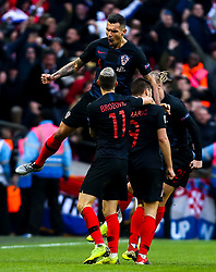 Andrej Kramaric of Croatia celebrates with teammates after scoring a goal to make it 1-0 - Mandatory by-line: Robbie Stephenson/JMP - 18/11/2018 - FOOTBALL - Wembley Stadium - London, United Kingdom - England v Croatia - UEFA Nations League
