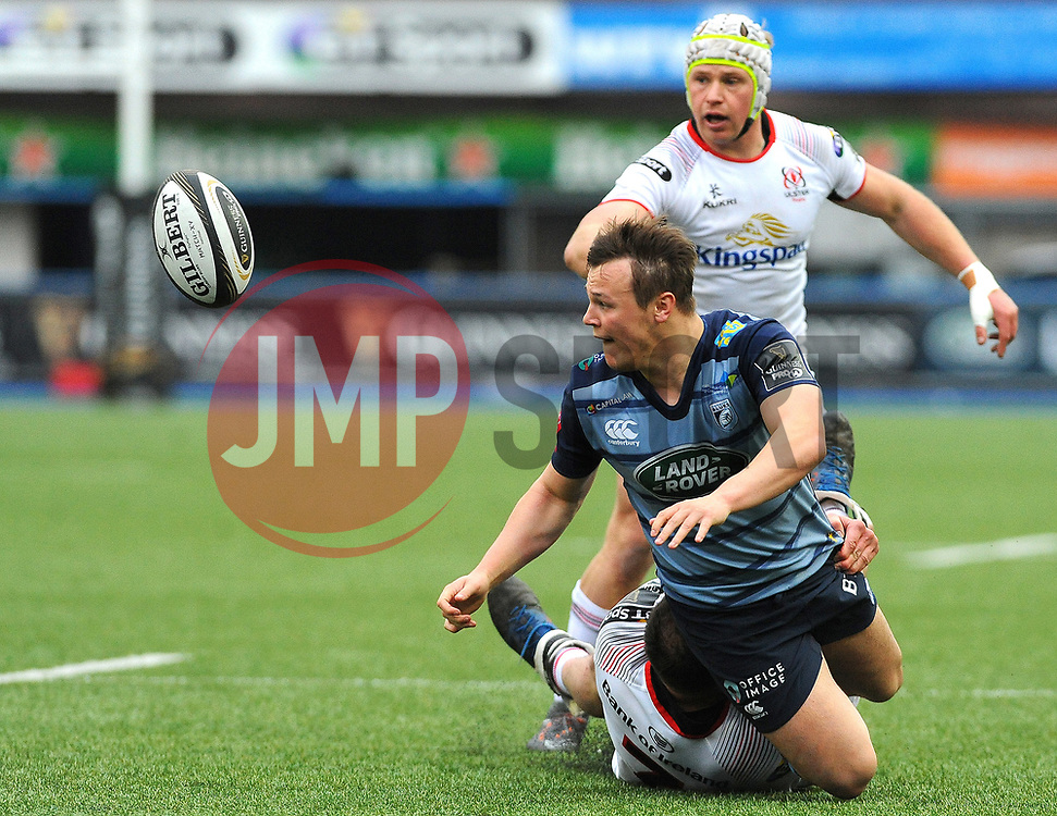 Jarrod Evans of Cardiff Blues is tackled by Clive Ross of Ulster Rugby - Mandatory by-line: Nizaam Jones/JMP- 24/03/2018 - RUGBY - BT Sport Cardiff Arms Park- Cardiff, Wales - Cardiff Blues v Ulster Rugby - Guinness Pro 14
