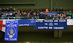 LILLE, FRANCE - Thursday, October 23, 2014: Everton supporters' banner 'Bitter Twisted and Proud' against Lille OSC during the UEFA Europa League Group H match at Stade Pierre-Mauroy. (Pic by David Rawcliffe/Propaganda)
