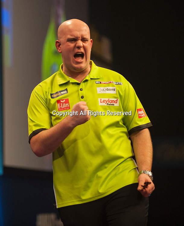 03.01.2015.  London, England.  William Hill PDC World Darts Championship.  Semi Final Round. Michael van Gerwen (1) [NED] celebrates during his game with Gary Anderson (4) [SCO]