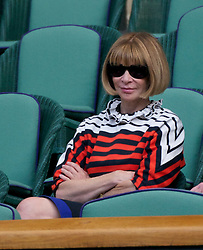 LONDON, ENGLAND - Wednesday, June 29, 2011: Anna Wintour, OBE, British-born editor-in-chief of American Vogue magazine, watches the actoon during the Gentlemen's Singles Quarter-Final match on day nine of the Wimbledon Lawn Tennis Championships at the All England Lawn Tennis and Croquet Club. (Pic by David Rawcliffe/Propaganda)