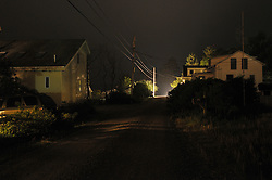 Night View of Mist along Potts Point Road in Casco Bay, South Harpswell, Maine. Credit Photography: James R Anderson