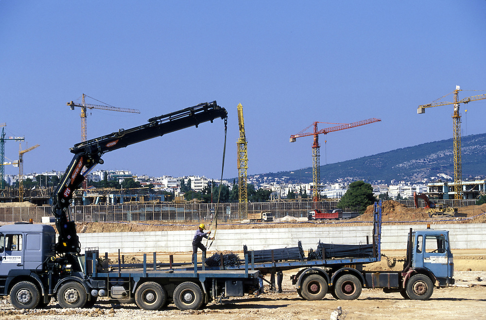 Europe, Greece, Athens, Construction work at Olympic Sports Complex at site of 2004 Olympics