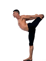 caucasian Man yoga asanas natarajasana dancer pose gymnastic  stretching acrobatics isolated studio on white background