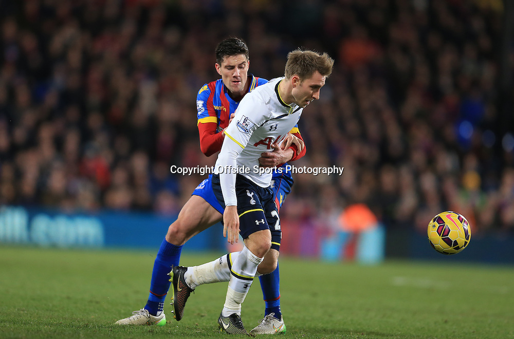 10 January 2015 - Barclays Premier League - Crystal Palace v Tottenham Hotspur - Christian Eriksen of Tottenham Hotspur in action with Martin Kelly of Crystal Palace - Photo: Marc Atkins / Offside.