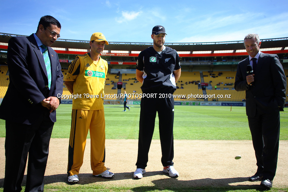 Sky's Mark Richardson (right) and captains Ricky Ponting and Daniel Vettori at the coin toss with match referee Ranjan Madugalle (left).<br /> Fifth Chappell-Hadlee Trophy one-day international cricket match - New Zealand v Australia at Westpac Stadium, Wellington. Saturday, 13 March 2010. Photo: Dave Lintott/PHOTOSPORT