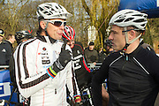 BELGIUM / BELGIQUE / BELGIE / CYCLOCROSS / VELDRIJDEN / CYCLO-CROSS / CYCLING / OVERIJSE / DRUIVENCROSS / GENTLEMEN RACE / FORMER GERMAN CYCLIST MIKE KLUGE ( R ) AND BELGIAN FORMER CYCLIST TOM VANNOPPEN /