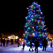 BRUNSWICK, Maine  11/24/18 -- Brunswick's tree was lit up by Santa at the tree lighting event on Saturday.  <br /> Photo by Roger S. Duncan for use by Brunswick Downtown Association