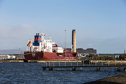 Thetagas LPG ship in the port area where the new jetty will be built. Grangemouth refinery. The Sun had access to the plant for a 'year on' tale (last year the plant closed following strike action - this is an update piece).