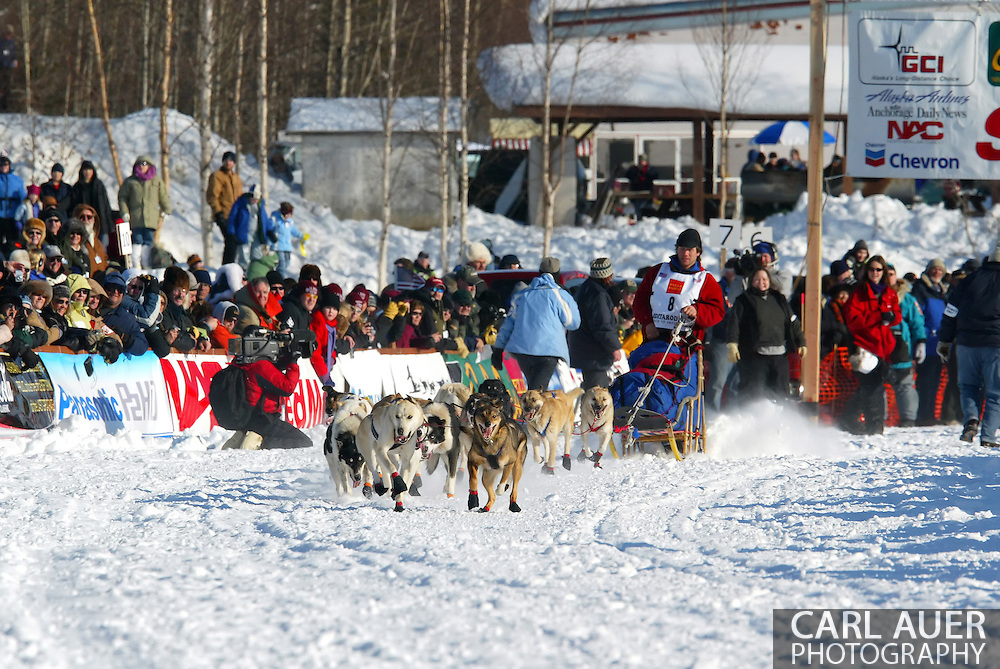 3/4/2007:  Willow, Alaska -  Veteran Ramey Smyth of Houston, AK leaves what is his back yard and training ground for his dog teams to head out into the harsh Alaskan wilderness for a 1049 mile journey to Nome in the 35th Iditarod Sled Dog Race