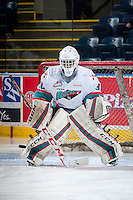 KELOWNA, CANADA - DECEMBER 28: Michael Herringer #30 of Kelowna Rockets warms up in net against the Kamloops Blazers on December 28, 2015 at Prospera Place in Kelowna, British Columbia, Canada.  (Photo by Marissa Baecker/Shoot the Breeze)  *** Local Caption *** Michael Herringer;