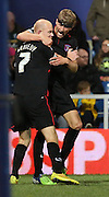 Jason Kennedy celebrating putting Carlisle United into the lead  during the Capital One Cup match between Queens Park Rangers and Carlisle United at the Loftus Road Stadium, London, England on 25 August 2015. Photo by Matthew Redman.