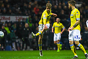 Patrick Bamford of Leeds United (9) scores a goal to make the score 0-1 during the EFL Sky Bet Championship match between Preston North End and Leeds United at Deepdale, Preston, England on 9 April 2019.