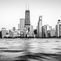 Chicago skyline with hancock building black and white photo. The John Hancock Center is one of the world's tallest skyscrapers. Image is high resolution.