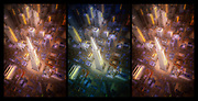 Triptych of spinning out/in control over San Francisco's downtown financial district.