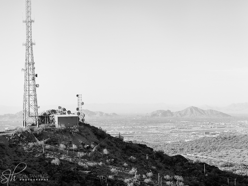 One of many transmission towers atop South Mountain - Phoenix, AZ