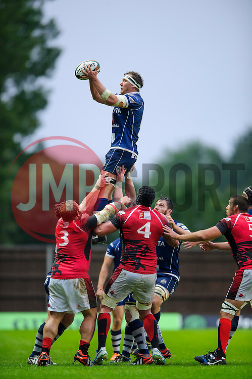 Bristol Flanker Nick Koster wins a lineout - Photo mandatory by-line: Rogan Thomson/JMP - 07966 386802 - 28/05/2014 - SPORT - RUGBY UNION - Kassam Stadium, Oxford - London Welsh v Bristol Rugby - Greene King IPA Championship Play Off Final First Leg.