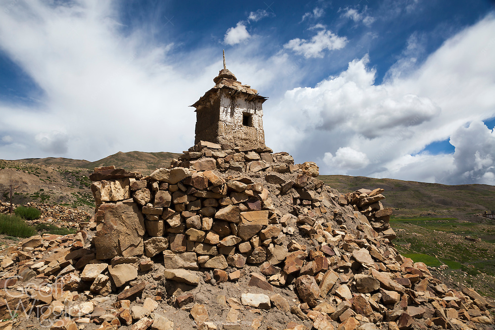 Buddhist stupas near Komik in the Himalayan region of Himachal Pradesh, India