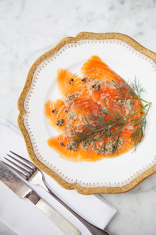 Gravlax with Reisling and Dill at Bar Les Freres in St. Louis.