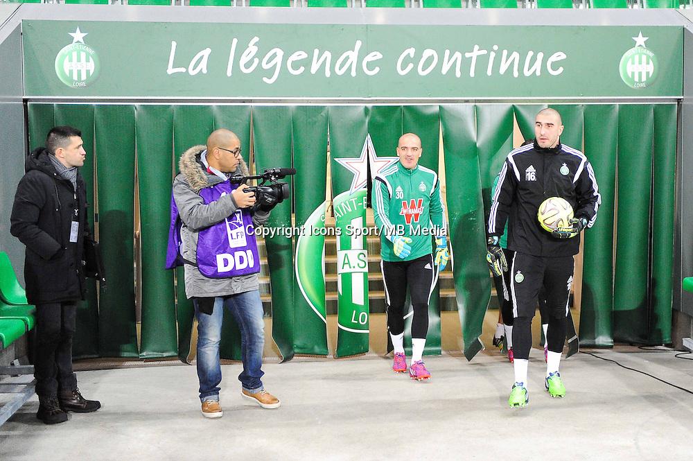 Jessy MOULIN / Stephane RUFFIER - 25.01.2015 - Saint Etienne / PSG - 22eme journee de Ligue1<br /> Photo : Jean Paul Thomas / Icon Sport