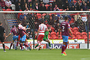Scunthorpe United forward Lee Novak (17) scores goal to go 0-1 during the EFL Sky Bet League 1 match between Doncaster Rovers and Scunthorpe United at the Keepmoat Stadium, Doncaster, England on 17 September 2017. Photo by Ian Lyall.