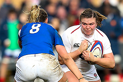 Sarah Bern of England Women takes on Romane Menager of France Women - Mandatory by-line: Robbie Stephenson/JMP - 10/02/2019 - RUGBY - Castle Park - Doncaster, England - England Women v France Women - Women's Six Nations