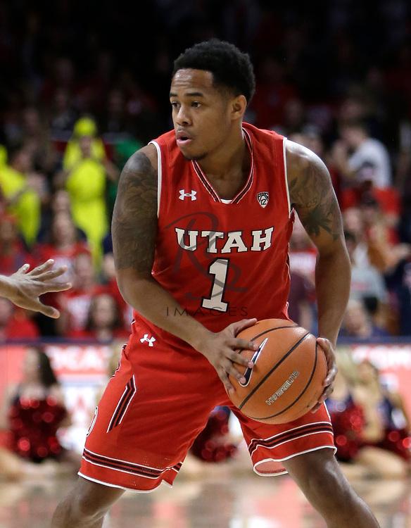 Utah guard Justin Bibbins (1) in the first half during an NCAA college basketball game against Arizona, Saturday, Jan. 27, 2018, in Tucson, Ariz. (AP Photo/Rick Scuteri)
